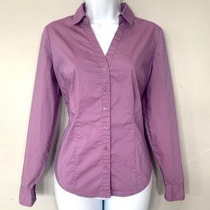 NWT New York & Company Purple Fitted Button Down